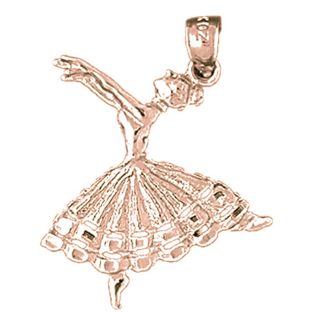 Jewels Obsession Silver Flamenco Dancer Pendant Rose Gold-plated 925 Silver 27mm Flamenco Dancer Pendant