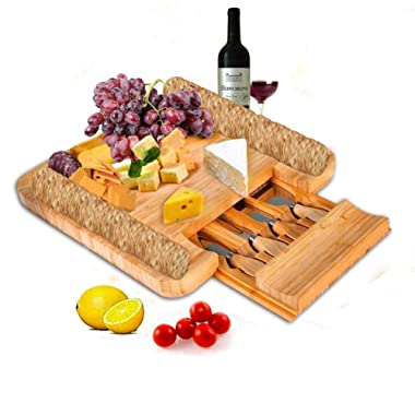 SMAGREHO Bamboo Cheese Board with Cutlery Set Wood Charcuterie Platter, Serving Tray with Slide-Out Drawer for Christmas, New Year