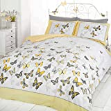 Just Contempo Single Duvet Cover ( Kids Childrens ) Cotton Blend Girls Butterfly Bedding - Reversible Polka Dot Cotton Rich Duvet Cover Bed Set, Yellow