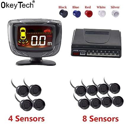 Blue, 8 Sensors : Okeytech auto parktronic Sensor de aparcamiento Detector 4/8 del