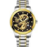 Wrist Watch for Men Under 10❤Waterproof Mens Gold Dragon Sculpture Quartz Watch Luxury Men Steel Wristwatch