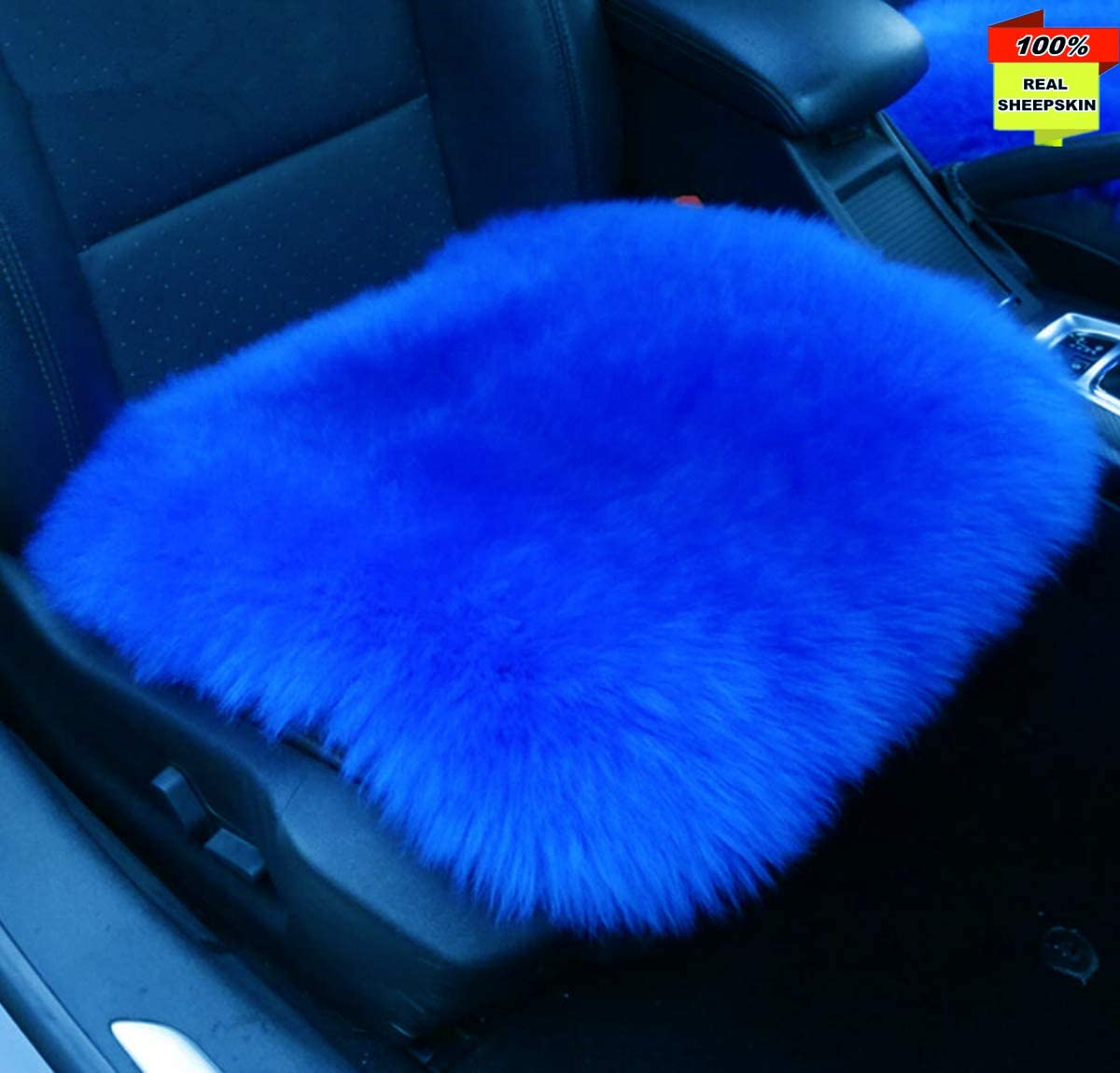 Inzoey Sheepskin Car Front Seat Cover Pad 18x18inch Long Wool Seat Cushion Winter Warm Universal Fit Auto, SUV, Truck, Dinner Chair Office Chair Front Royal Blue