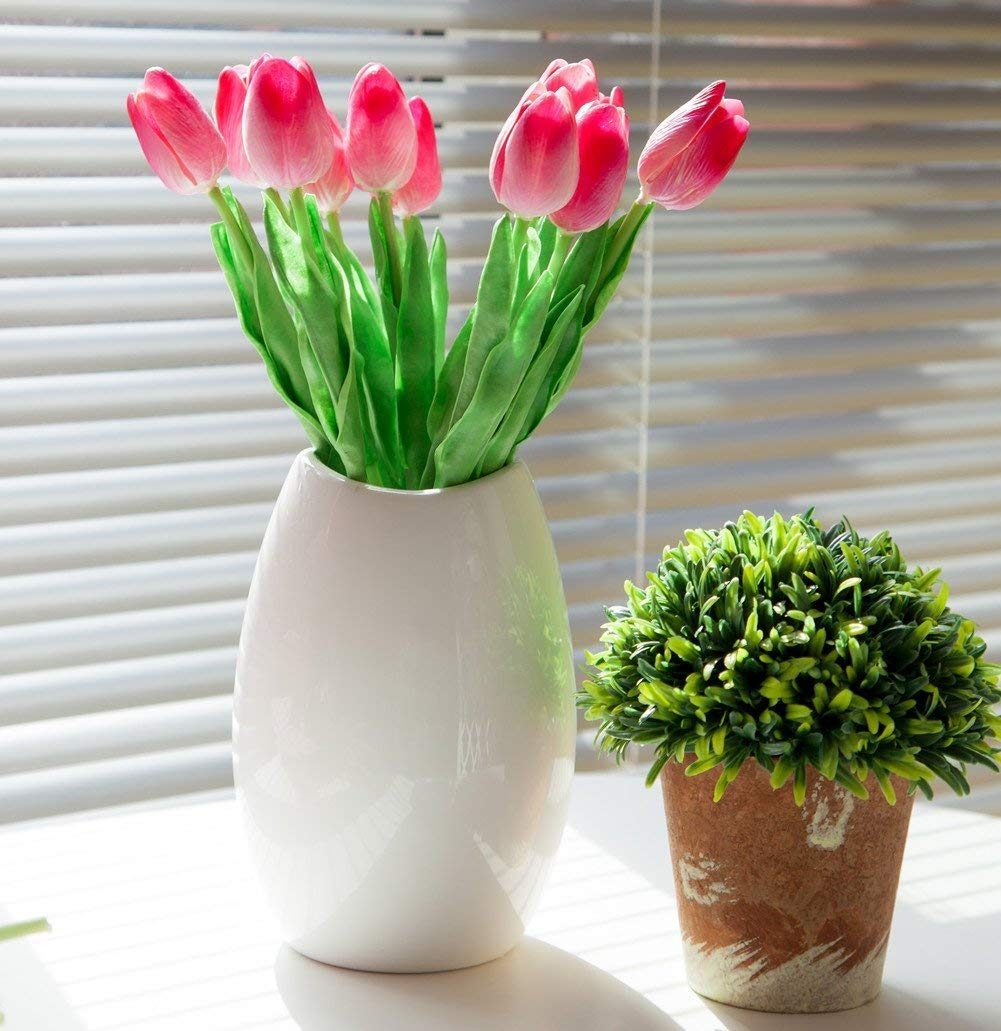 white 12Pcs Artificial Tulip Real Touch Tulip Flowers Fake Silk Flowers for Vases Wedding Home Room Party Decoration and Holiday Gift Shallylu