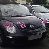 Cils roses pour voiture (paire de 2 cils) - Bande de colle longue durée (marque 3M), haute qualité