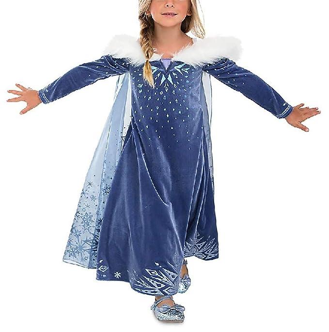 YOSICIL Vestido Elsa con Capa Disfraz de Princesa de Invierno Niñas Manga Larga Vestido Frozen Nieve Traje de Fiesta Costume Princesa Anna para Regalo ...