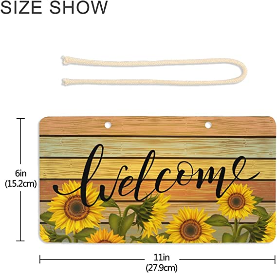 VIKKO Sunflowers Welcome Door Sign PVC Front Door Plaque Hanger Xmas Holiday Decoration for Farmhouse Office Coffee Shop Bar 6 X 11 Inch
