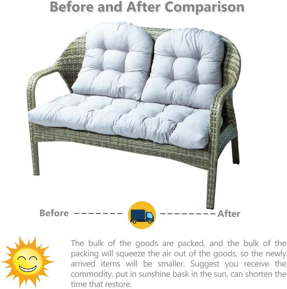 Garden Bench Pad Chair Cushions Indoor Outdoor Patio Furniture Bench Seat Pads Comfortable 1pcs Bench Cushion 110 X 50cm 2 Seater 2pcs Chair Pads 48 X 48cm For Garden Patio Bench Or Swing Grey