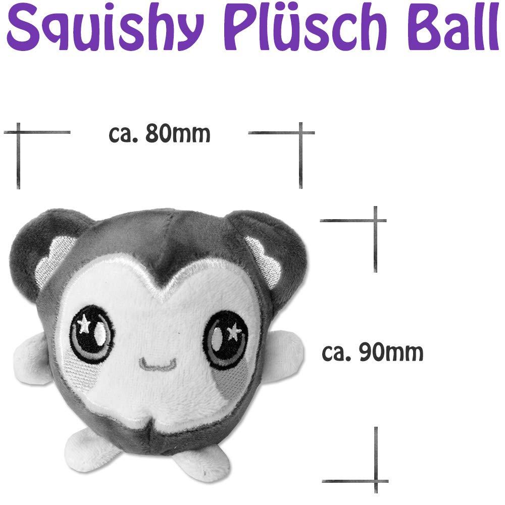 TE-Trend 4 St/ück Coole Pl/üsch Squishys Quetsch Ball Pl/üschtier Set Spielzeug Erwachsene Kinder Antistress 8cm Motive Mehrfarbig Sortiert