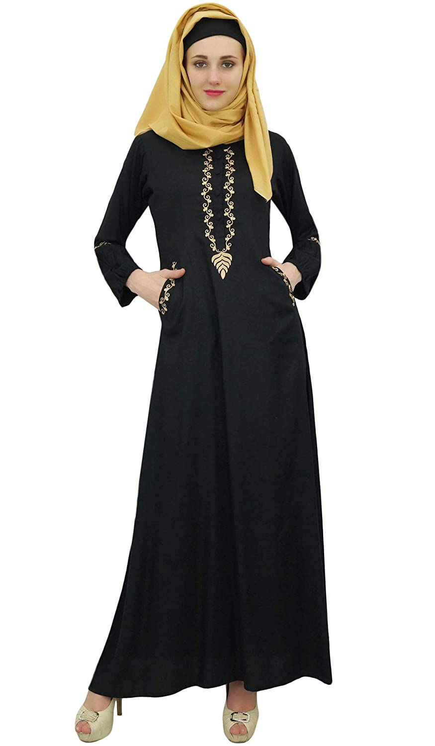 f123381f72c Bimba Women s Muslim Abaya Aari Work Jilbab Islamic Dress with Hijab   Amazon.co.uk  Clothing