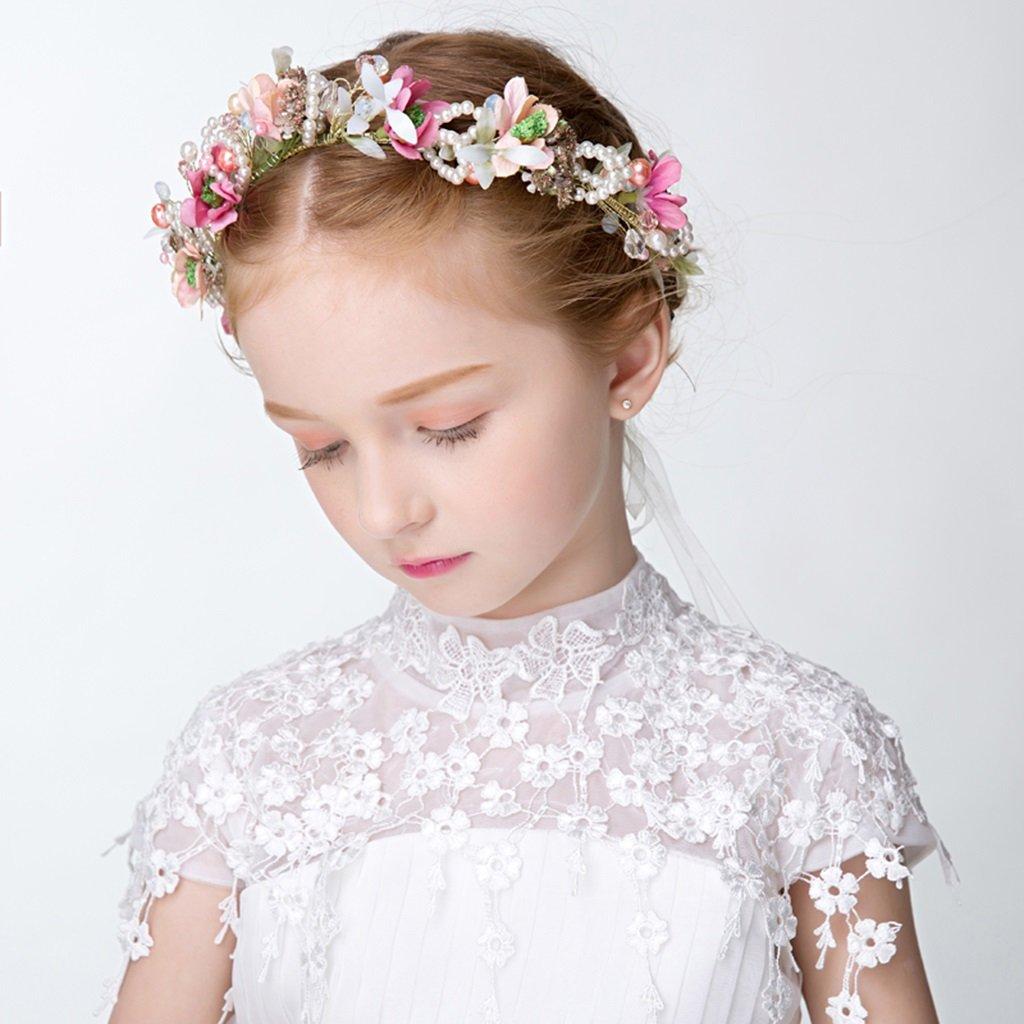 Wreath Flower, Girl Hair Ornaments Headband Accessories Child Princess Headdress (Color : Multi-Colored) by Wreath