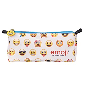 Emoji Perletti 13626 - Estuche escolar con cremallera, estampado Emoji, 9 x 22 x 7 cm