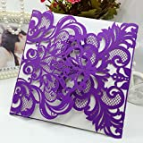 H&D 60pcs Purple Wedding Invitations Cards Laser Cut Birthday Party Invites for Marriage Engagement Bridal Shower offers