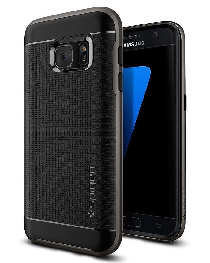 Samsung Galaxy S7 Hülle, Spigen® [Neo Hybrid] Dual-Layer Schutzrahmen [Gunmetal] Metallisierte tasten / Durchsichtige TPU Sch