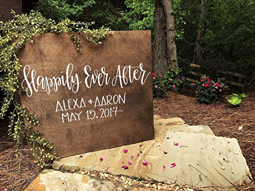 MarthaFox Wedding Welcome Sign Happily Ever After Personalized Wedding Entrance Sign Rustic Wood Wedding Sign Custom Wedding Signs Ceremony