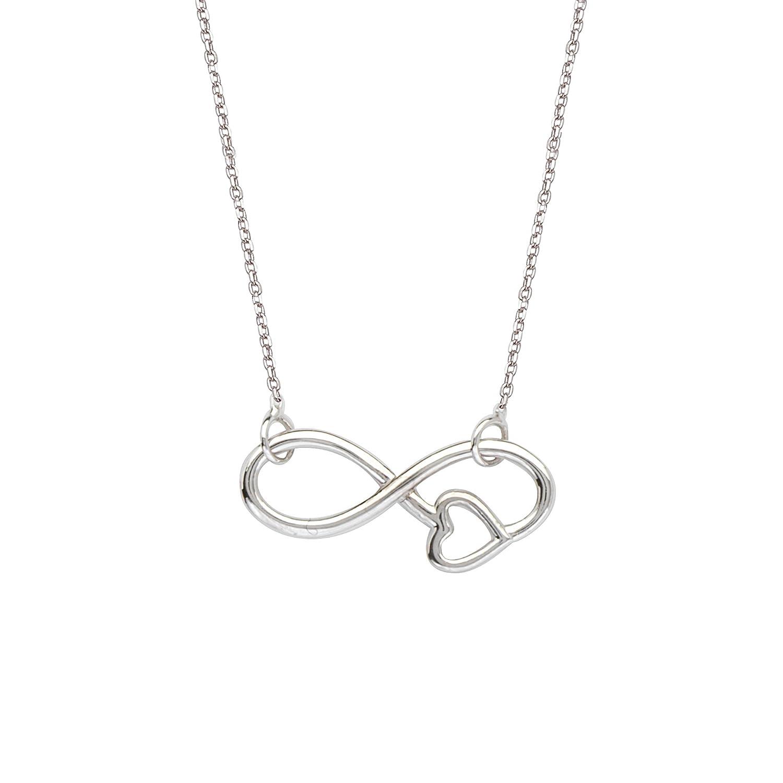 Excl.Adj E2W Infinity W//Heart NCK-Dc 030 DiamondJewelryNY Silver Pendant