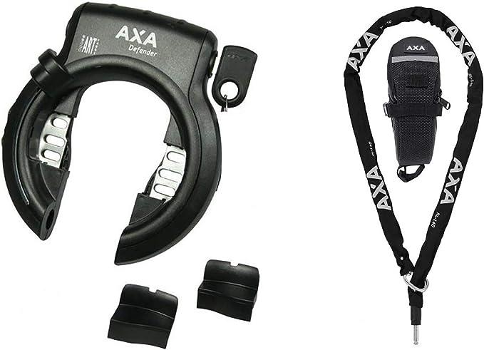 .AXA Defender - Candado para Marco de Bicicleta (Incluye Cadena RLC 140 con Funda), Color Negro
