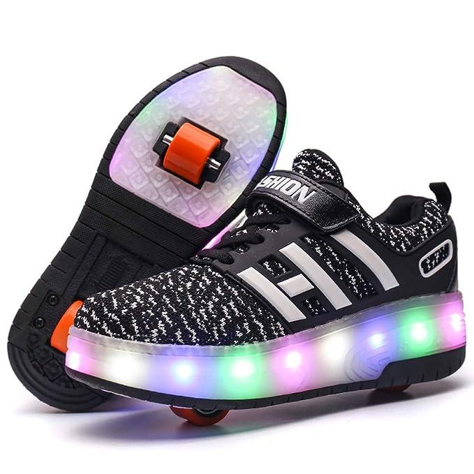 Flower-Ager Unisex Led Luz Automáticade Skate Zapatillas con Ruedas USB Cargando Zapatos Patines Deportes Zapatos para Niños y Niñas: Amazon.es: Ropa y ...
