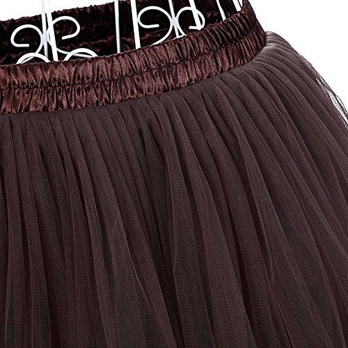Facent Mujer Adultos Midi Tutu Falda Tul Enaguas para Disfraz Halloween Gris