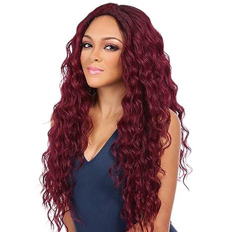 ZiQE Mujeres sintéticas pelucas de pelo largo y rizado de color rojo para Cosplay Fashion Halloween