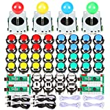 EG STARTS 4 Player LED Arcade DIY Kit for USB MAME PC Game DIY & Raspberry Pi Retro Controller DIY Including 4X Arcade Joystick, 40x LED Chrome Arcade Buttons 2X Zero Delay USB Encoder