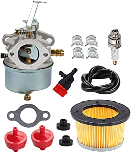 Hayskill 632230 Carburetor 632272 with 30727 Air Filter for Tecumseh H30 H50 H60 HH60 631828 631067 631067A 5HP 6HP 4 Cycle Engine Carb Troy-Bilt Hose Sears John Deere Tiller
