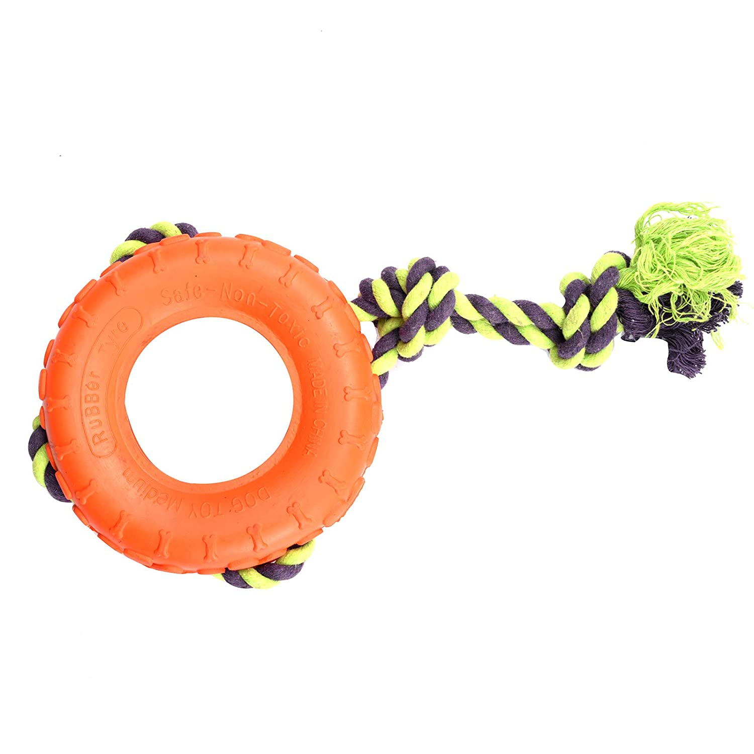 orange DS Tires with Rope for Dogs Toys Nontoxic Rubber Durable Chew Toys Tires Rope Toys for Small Medium Dogs Intelligence Training Sports Training Perfect Dog Interaction orange