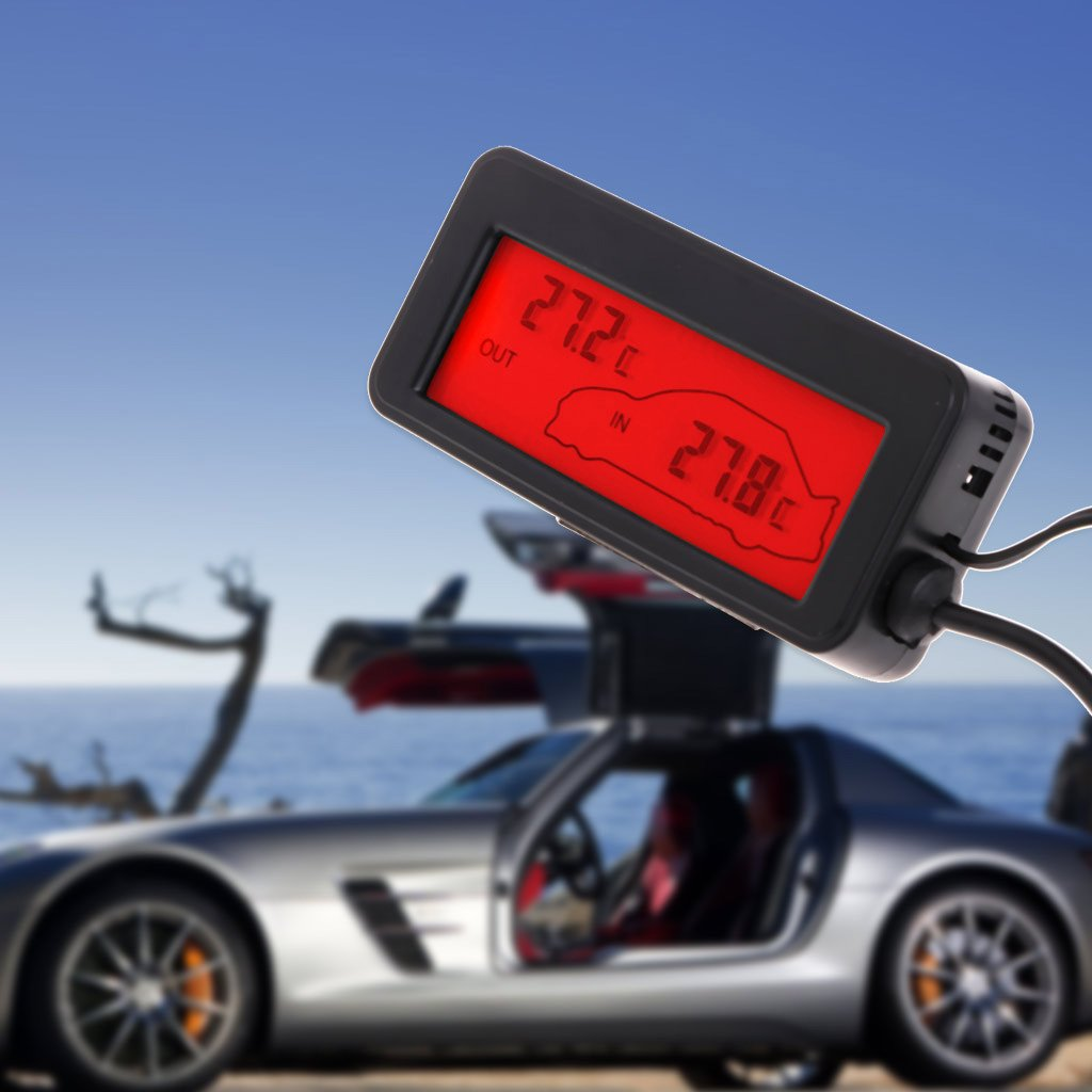 Mini term/ómetro digital para coche Eliky pantalla LCD, para interiores y exteriores, 12 V, 1,5 m de cable, sensor rojo