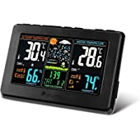 Wireless Weather Station, Houzetek S657 Digital Indoor Outdoor Thermometer Color Forecast Station Home Temperature and Humidity Monitor, Large Display Digital Tabletop Hygrometer with Sensor, USB Port