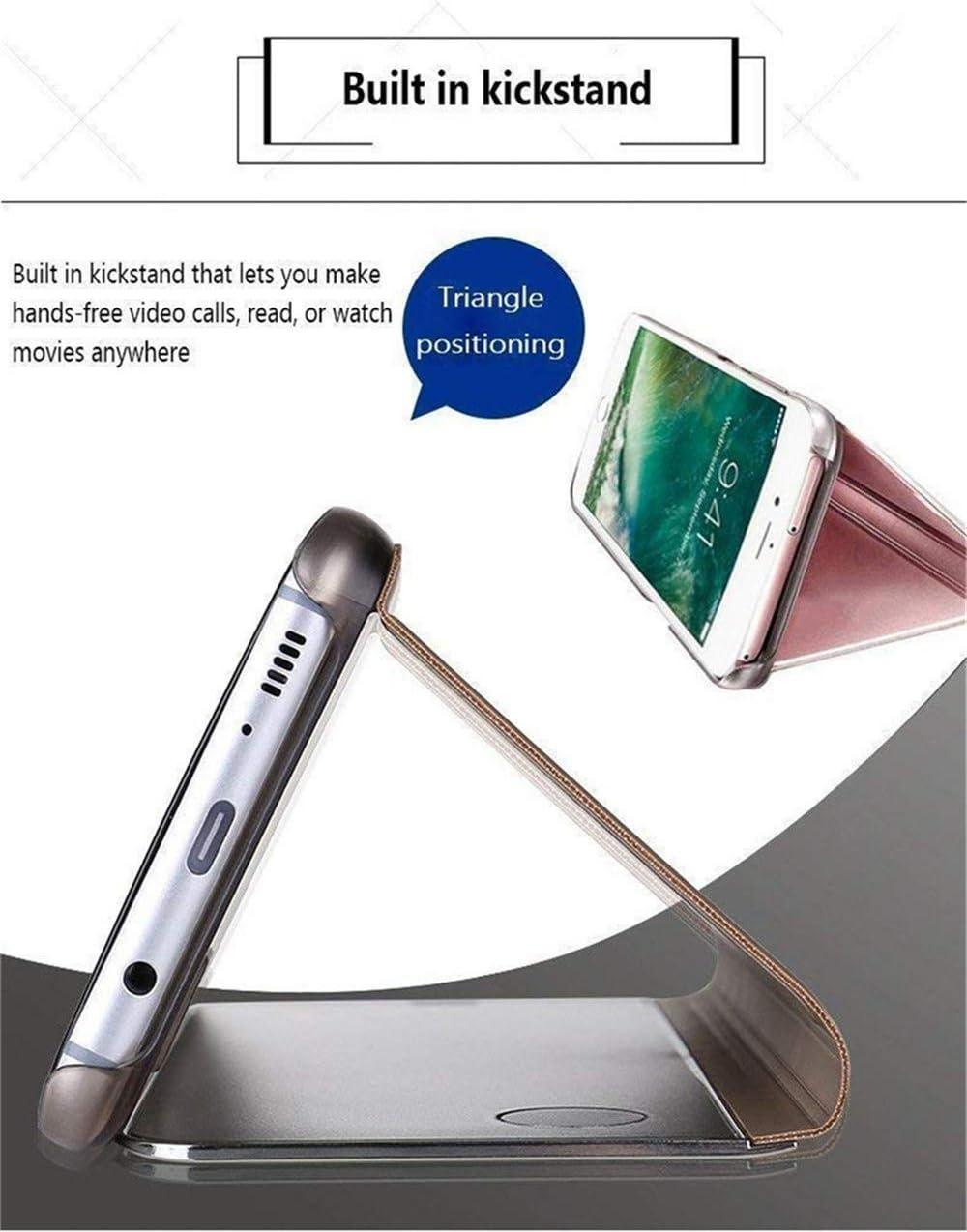 COTDINFOR Trucco Specchio per Samsung Galaxy A11 Custodia Sottile Clear View Mirror Case Flip Cavalletto Pieghevole Custodia Paraurti Bumper Cover per Samsung Galaxy A11 Mirror PU Silver MX.