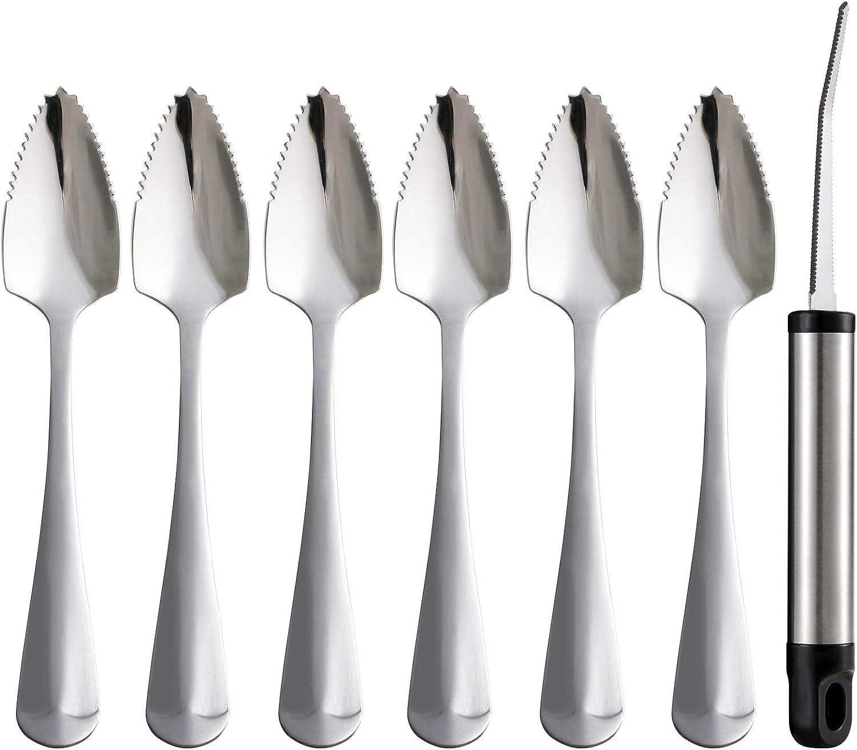 Grapefruit Spoons and Grapefruit Knife, Set of 7 Food Grade Stainless Steel Dessert Spoons Mirror Finish Fruit Knife, Serrated Grapefruit Utensils Tool, Suitable for Citrus Fruits Kiwi Salads Desserts