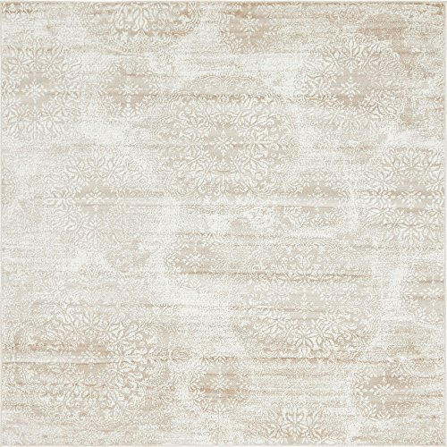 (Unique Loom Sofia Collection Traditional Vintage Beige Square Rug (8' x 8'))