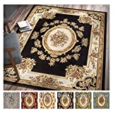Pastoral Medallion Black French European Formal Traditional 9x13 (9'2