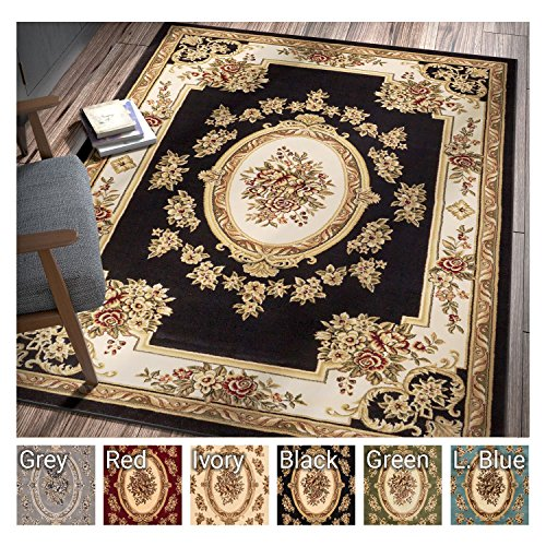 Clean Jute Rug - Pastoral Medallion Black French European Formal Traditional 9x13 (9'2