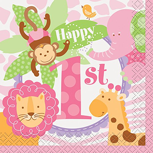 (Pink Safari First Birthday Beverage Napkins, 24ct)