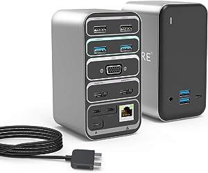 USB C Docking Station Dual Monitor for MacBook Pro Dock, Lyare Triple Displays USB C Hub for MacBook Pro & MacBook Air with 4K HDMI, VGA, PD 3.0, Gigabit Ethernet, 4 USB 3.0, 2 USB 2.0, 3.5mm Audio