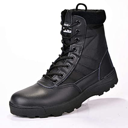 : Fuze Military Leather Boots for Men Combat Boots