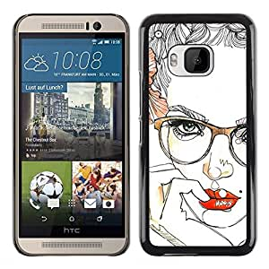 Paccase / SLIM PC / Aliminium Casa Carcasa Funda Case Cover - Lips Glasses Roses Floral Sexy Woman - HTC One M9