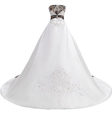 Dressyme Women S Strapless Wedding Dress With Camo Embrodiery Formal