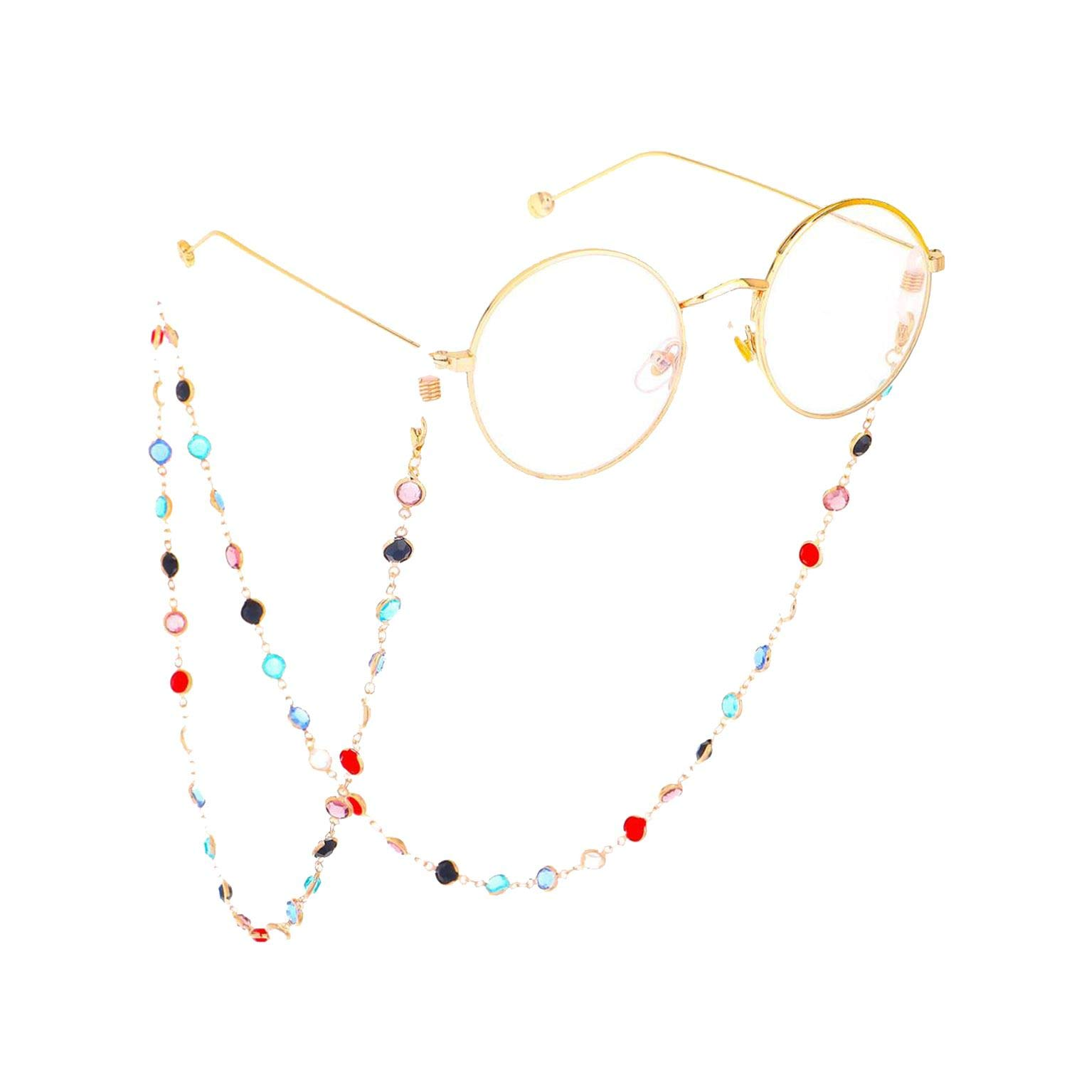 Glasses Rope Hanging Neck Simple Colorful Glass Beads Chain Sunglasses Chain Gold Plated Glasses Chain,Gold by RHYS DOBSON