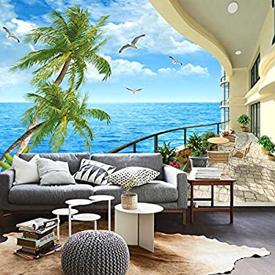 XLi-You 3D Mediterranean Sea Beaches Coconut Trees Natural Landscape Painting The Living Room Tv Wall Wallpaper