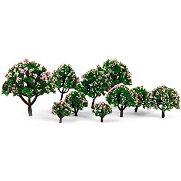 Flameer 10pcs Woodland Scenics Trees Model Ground Cover