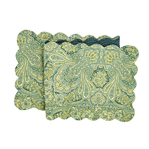 C&F Home Kashmir Paisley Cotton Quilted Reversible Table Runner 14x51 Runner Green