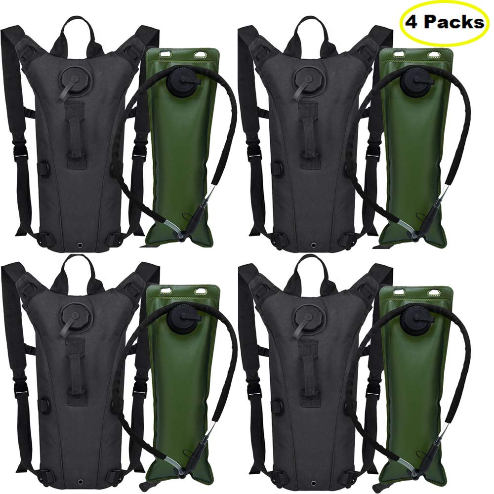 AIMILL Military Water Hydration Pack Minimalist Bladder Camel Backpack Reservoir Daypack (Black 4 Pack, 2.5-3L (84-100oz)) by AIMILL