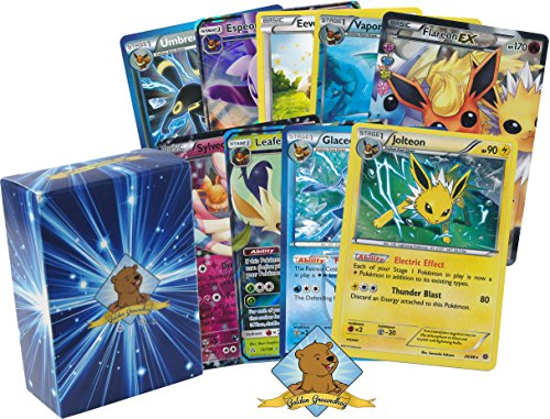 Pokemon Eeveelution Card Lot Collection - Featuring Eevee Plus Jolteon - Flareon - Vaporeon - Espeon - Umbreon - Glaceon - Leafeon - Sylveon! Mixed Rarities GX - EX - Holo - Foils! Comes in GG Box! by GoldenGroundhog