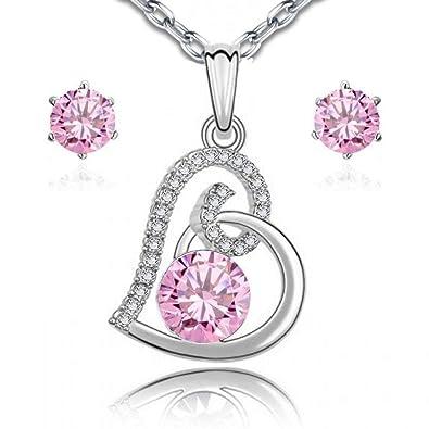 d8e31f59a276 Juego de collar y pendientes de Chapado en oro blanco de 18 ct con Crystals  from Swarovski de color rosa