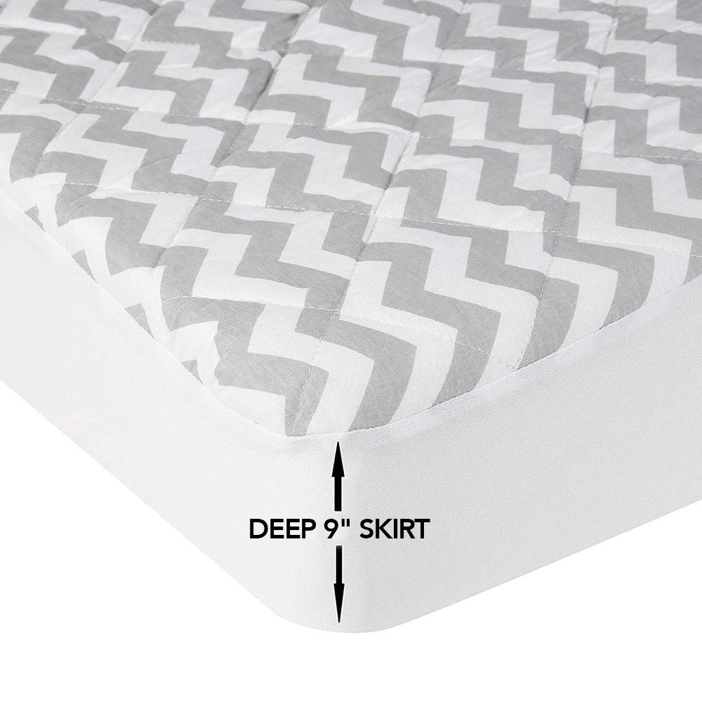Baby Crib Mattress Pad with Attached Crib Sheet for an All-in-One Waterproof Mattress Protector Cover - Fitted, Padded, Hypoallergenic Crib Topper Pads - Washer, Dryer Safe (Gray Chevron Pattern)
