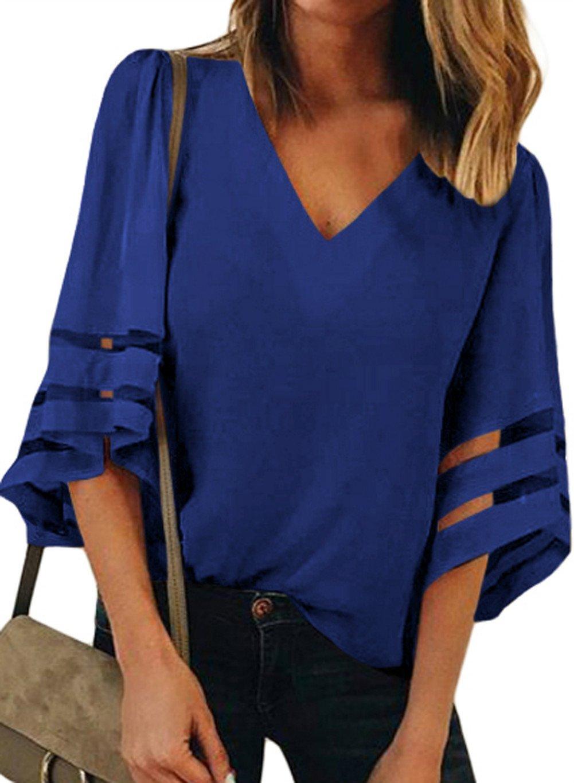 HUUSA Summer 3/4 Sleeves Chiffon Blouse V Neck Lace Patchwork Loose Chiffon Tops XL Blue