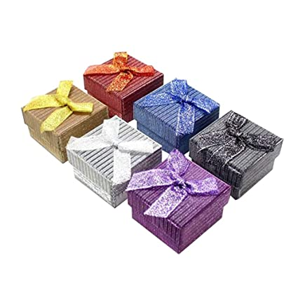 f517d0488 Amazon.com: TENDYCOCO 24 Pcs Jewelry Gifts Boxes with Padding Bowknot Ring  Earrings Necklace Display Box Gift Packaging Box Holder(Random Color): Home  & ...