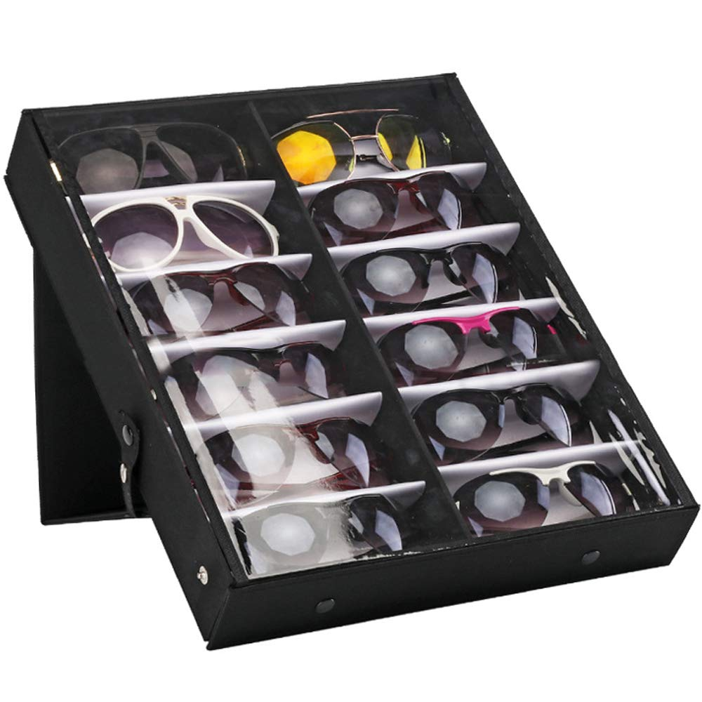 Outdoorfly 12 Slot Eyewear Case Sunglasses Organizer Display Storage Tray for Eyeglasses, Sunglasses, Watches, Jewelry (12 Slot)