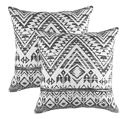 TreeWool Decorative Square Throw Pillowcases Set French Accent 100% Cotton Cushion Cases Pillow Covers (18 x 18 Inches / 45 x 45 cm; Graphite Grey in Cream Background) - Pack - Inch Pillow 18 Accent Square